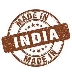 made in india brown grunge round stamp vector image vector image