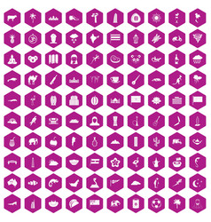 100 exotic animals icons hexagon violet vector image