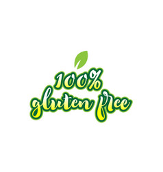 100 gluten free word font text typographic logo vector