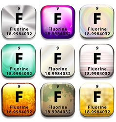 A button showing the element fluorine vector
