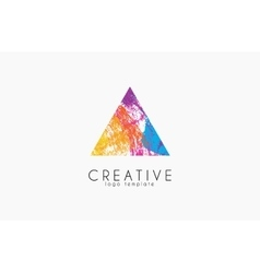 abstract trendy multicolored logo triangle design vector image