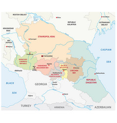administrative map russian north caucasian vector image