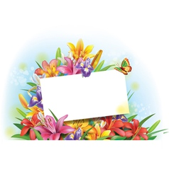 Arrangement flowers with empty greeting card vector