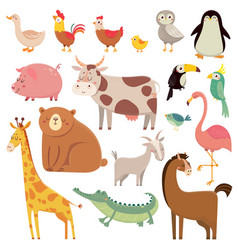 Bacartoons wild bear giraffe crocodile bird vector