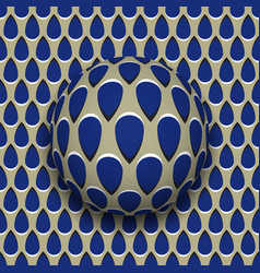 Ball with a blue drops pattern rolls along blue vector