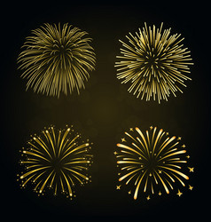Beautiful gold fireworks set bright fireworks vector