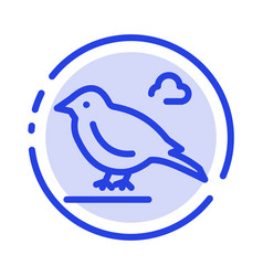 Bird british small sparrow blue dotted line line vector