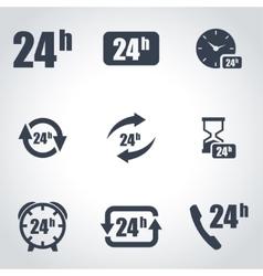 Black 24 hours icon set vector