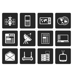 Black Communication and Business Icons vector