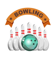 bowling club emblem with glossy skittles and heavy vector image