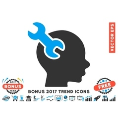 Brain Service Wrench Flat Icon With 2017 Bonus vector