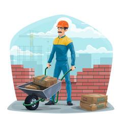Builder worker with wheelbarrow construction vector