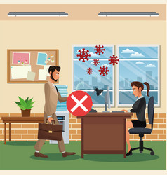 business couple working and wearing medical mask vector image