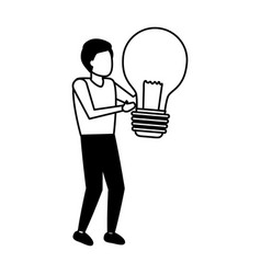 businessman holding light bulb creativity vector image