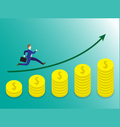 businessman running on growth coins graph vector image