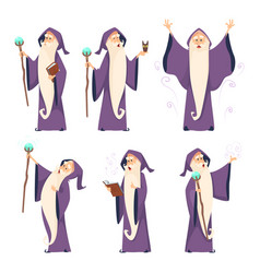 cartoon wizard character in various poses vector image