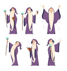 Cartoon wizard character in various poses vector