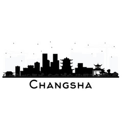 changsha china city skyline silhouette with black vector image