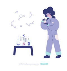 Chemical laboratory research flat character vector