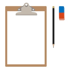 Clipboard with pencil and eraser vector