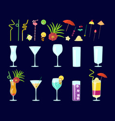 Cocktail drink decoration vector