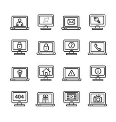Computer screen symbols with signs black thin line vector