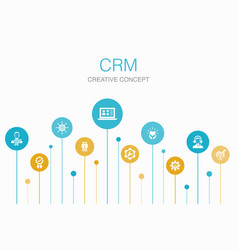 Crm infographic 10 steps template customer vector