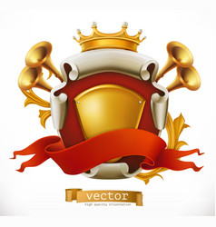Crown and shield king 3d icon vector
