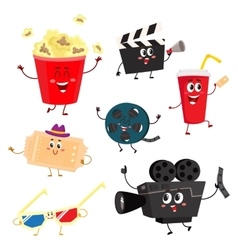 Cute and funny cinema movie characters symbols vector image