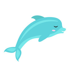 Cute dolphin icon flat cartoon style isolated vector