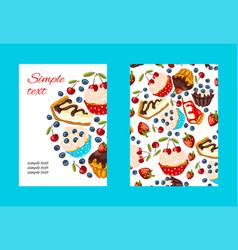 Dessert promo card cartoon style vector