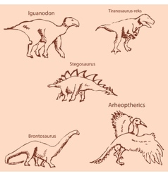 Dinosaurs with names Pencil sketch by hand vector