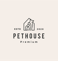 Dog cat pet house home hipster vintage logo icon vector