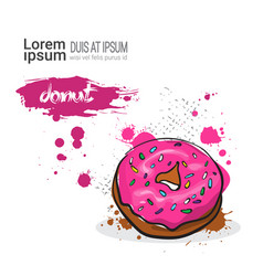 donut hand drawn watercolor dessert food on white vector image