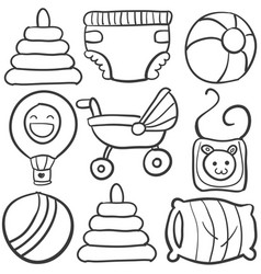 doodle of baby toys on white background vector image