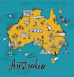 drawing cartoon map of australia vector image