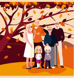 Family and tree in autumn season design vector