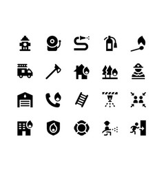 Firefighter glyph icons vector