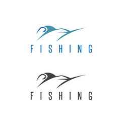 fishing set with outline marlin vector image