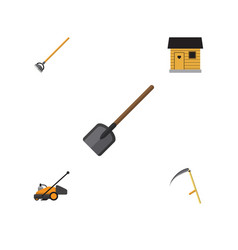 flat icon dacha set of lawn mower stabling vector image