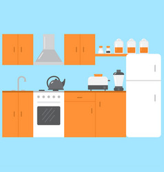 Flat kitchen room interior with furniture stove vector