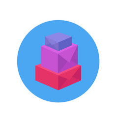 flatl of a pyramid of multi-colored boxes vector image