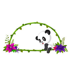 frame of bamboo and baby panda vector image
