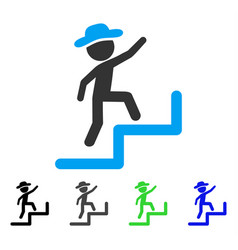 Gentleman steps upstairs flat icon vector