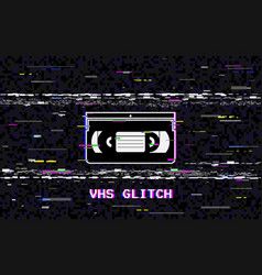 Glitch video cassette abstract white horizontal vector