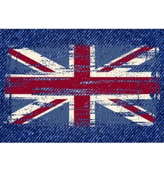 Grunge British flag on jeans background vector image