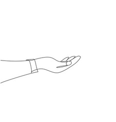 hand holding gesture single continuous line vector image