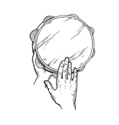 Hands and tambourine engraving vector