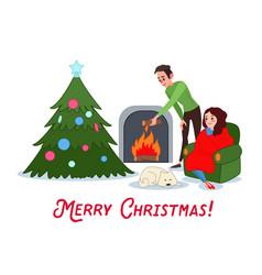 happy couple celebrating christmas near fireplace vector image