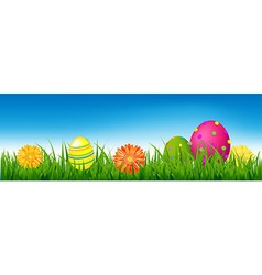 Happy Easter Banner With Grass And Eggs vector image